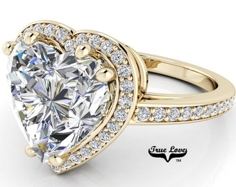 Moissanite Engagement Ring Heart Shaped Center Stone, Trek Quality #1 D-E Colorless or G-H near colorless set in 14kt Yellow Gold #6967
