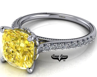 2.5 Carat Cushion Cut Moissanite Trek Quality #1 Canary Yellow  VVS Clarity Engagement Ring 14 kt W Gold  #8409