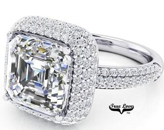 Moissanite Engagement Ring 14kt White Gold, Trek Quality #1, Wedding Ring, Halo, Side Moissanites, Pave Set #7094