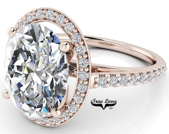 Moissanite Trek Quality #1 Oval Cut Engagement Ring D-E or G-H Color set in 14kt Rose Gold  #7126