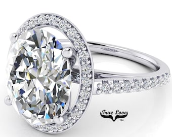 Moissanite Trek Quality #1 Oval Cut Engagement Ring D-E or G-H Color set in 14kt White Gold  #7128