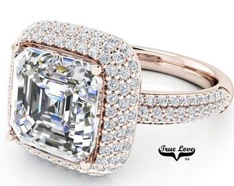 Moissanite Engagement Ring 14kt Rose Gold, Trek Quality #1, Wedding Ring, Halo, Side Moissanites, Pave Set #6948
