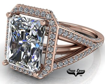 Moissanite Radiant Cut Engagement Ring Trek Quality #1  D-E Color VVS Clarity with halo and side Moissanites 14 kt Rose Gold  #6732