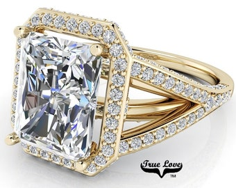 Moissanite Radiant Cut Engagement Ring Trek Quality #1  D-E Color VVS Clarity with halo and side Moissanites 14 kt Yellow Gold  #6799
