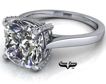 Cushion Cut Moissanite Engagement Ring Trek Quality #1, VVS clarity, D-E colorless or G-H near colorless set in 14kt White gold #7033.