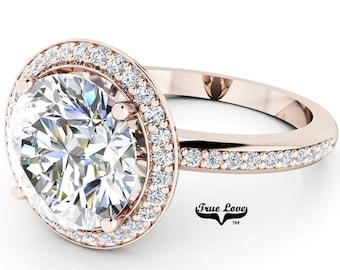 Round Brilliant Cut Moissanite Trek Quality #1 D-E or G-H Color VVS Clarity  Engagement Ring Brand:True Love 14kt Rose Gold Ring,#6931