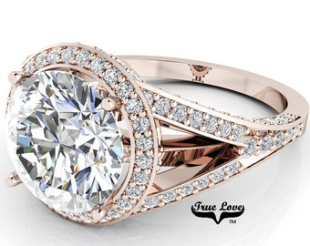 Moissanite Engagement Ring Trek Quality #1 D-E or G-H Color VVS Clarity as Listed 14 kt Rose Gold. #6969