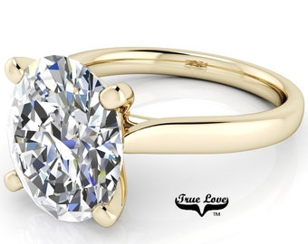 Oval Moissanite Engagement Ring Trek Quality #1 VVS Clarity D-E Colorless or G-H Near colorless, set in 14kt Yellow Gold #6792