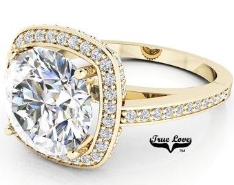 Moissanite Engagement Ring 14kt Yellow Gold, Trek Quality #1, Wedding Ring, Halo, Side Moissanites  #7066
