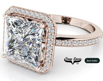 Moissanite Princess Cut Trek Quality #1 Halo Engagement Ring D-E Color  VVS clarity 14 kt Rose Gold   #7137