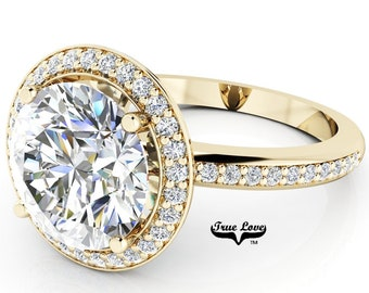 Round Brilliant Cut Moissanite Trek Quality #1 D-E or G-H Color VVS Clarity  Engagement Ring Brand:True Love 14kt Yellow Gold Ring,#7024