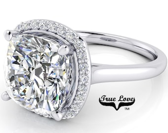 1.50 up to 5 Carat  Moissanite  Cushion cut  Trek #1 quality D-E Colorless  or G-H Near Colorless Eng. Ring 14 kt Gold Halo   #8292
