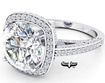 Moissanite Engagement Ring 14kt White Gold, Trek Quality #1, Wedding Ring, Square Halo, Side Moissanites #6945