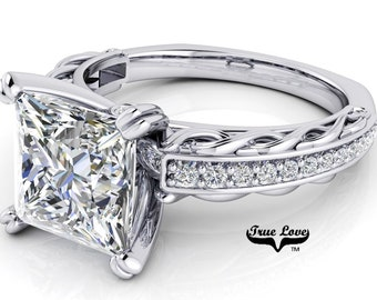 Princess Cut Moissanite Engagement Ring Trek Quality #1, D-E Colorless or G-H near colorless VVS Clarity set in 14 kt White Gold #6784