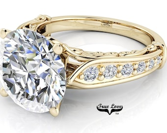 Round Brilliant Cut Moissanite Trek Quality #1 D-E  Colorless or G-H Near Colorless  Engagement Ring 14kt Yellow Gold #6770