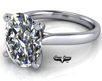 Oval Moissanite Engagement Ring Trek Quality #1 VVS Clarity D-E Colorless or G-H Near colorless, set in 14kt White Gold #6790