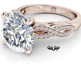 Moissanite Engagement Ring Trek Quality #1 D-E Colorless or G-H Near Colorless VVS Clarity set in 14kt Rose Gold #6932