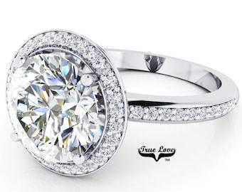 Round Brilliant Cut Moissanite Trek Quality #1 D-E or G-H Color VVS Clarity  Engagement Ring Brand:True Love 14kt White Gold #6952