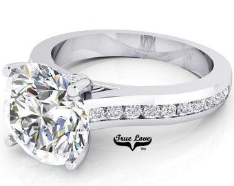 Moissanite Engagement Ring 14 kt White Gold, Trek Quality #1, Side Moissanites #6944