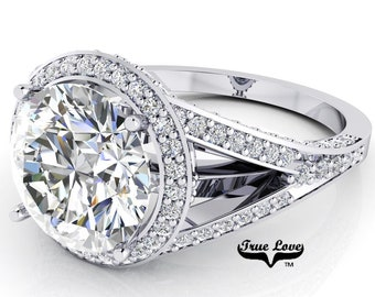 Moissanite Engagement Ring Trek Quality #1 D-E or G-H Color VVS Clarity as Listed 14 kt White Gold. #7097