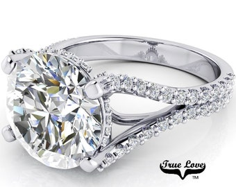 Moissanite Engagement Ring  from 1.50 up to 6 Carat Trek Quality #1 VVS Clarity  D-E Colorless or G-H near Colorless,14 kt White Gold #7086