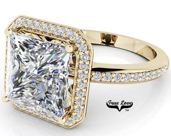 Moissanite Princess Cut Trek Quality #1 Halo Engagement Ring D-E Color  VVS clarity 14 kt Yellow Gold   #7136