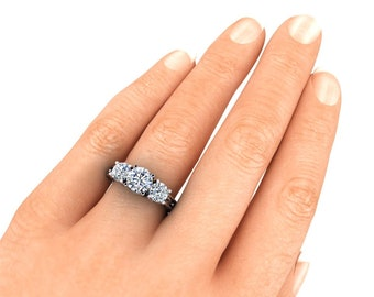 Final Payment for Ana 1 Carat center 6.5 mm Moissanite Round Brilliant Cut Engagement Ring Trek Quality #1 set in 14 kt White Gold #6919C