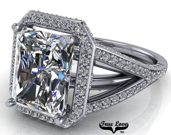 Moissanite Radiant Cut Engagement Ring Trek Quality #1  D-E Color VVS Clarity with halo and side Moissanites 14 kt White Gold  #7142