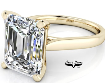 Moissanite Emerald Cut Engagement Ring, Trek Quality #1 VVS Clarity  D-E colorless or G-H near Colorless set in 14kt Yellow gold #6791