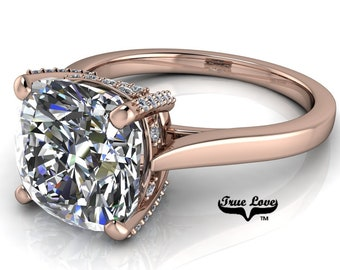 Cushion Cut Moissanite Engagement Ring Trek Quality #1, VVS clarity, D-E colorless or G-H near colorless set in 14kt Rose gold #6995.