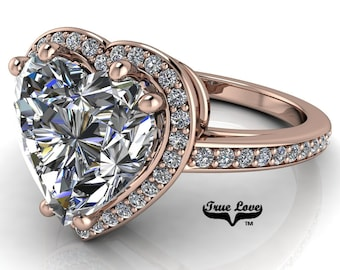 Moissanite Engagement Ring Heart Shaped Center Stone, Trek Quality #1 D-E Colorless or G-H near colorless set in 14kt Rose Gold #6930