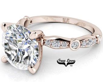 Moissanite Engagement Ring Trek Quality #1 D-E Colorless or G-H Near Colorless,   Side Moissanites 14kt Rose Gold #6774