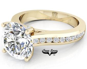 Moissanite Engagement Ring 14 kt Yellow Gold, Trek Quality #1, Side Moissanites #6965
