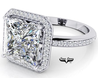 Moissanite Princess Cut Trek Quality #1 Halo Engagement Ring D-E Color  VVS clarity 14 kt White Gold   #7135