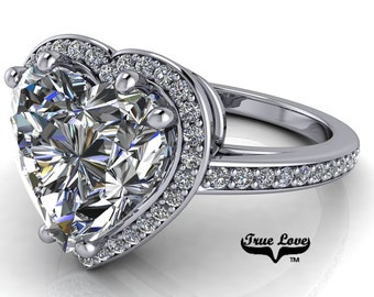 Moissanite Engagement Ring Heart Shaped Center Stone, Trek Quality #1 D-E Colorless or G-H near colorless set in 14kt White Gold #6946