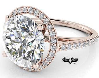 Round Brilliant Cut Moissanite Engagement Ring Trek Quality #1 D-E or G-H Color VVS Clarity set in 14kt Rose Gold  #7125