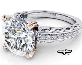 Round Brilliant Cut Moissanite D-E Colorless or G-H near colorless VVS Clarity Trek Quality #1 Eng. Ring 14kt White and Rose Gold. #6719