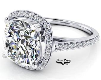 Moissanite Cushion Cut Engagement Ring Trek Quality #1 D-E or G-H Color VVS Clarity. 14kt White Gold #7116