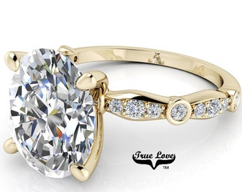 Moissanite Engagement Ring Trek Quality #1 D-E Colorless or G-H Near Colorless, with Side Moissanites set in 14kt Yellow Gold #6810