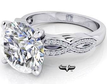 Moissanite Engagement Ring Trek Quality #1 D-E Colorless or G-H Near Colorless VVS Clarity set in 14kt White Gold #6953
