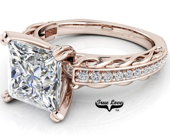 Princess Cut Moissanite Engagement Ring Trek Quality #1, D-E Colorless or G-H near colorless VVS Clarity set in 14 kt Rose Gold #6786