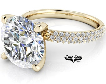 Round Brilliant Moissanite Engagement Ring Trek Quality #1, VVS Clarity DE Colorless or GH near Colorless set in 14kt Yellow Gold #7070