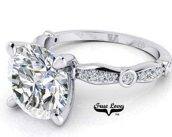 Moissanite Engagement Ring  1,2 or 3 Carat Trek Quality #1 D-E Colorless or G-H Near Colorless,   Side Moissanites 14kt White Gold #6772