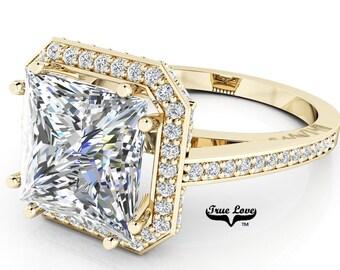 Princess Cut Moissanite Trek Quality #1 D-E Color  VVS1-2 Clarity Brand: True love  Engagement Ring 14 kt Yellow Gold,  #7084