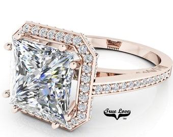 Princess Cut Moissanite Trek Quality #1 D-E Color  VVS1-2 Clarity Brand: True love  Engagement Ring 14 kt Rose Gold,  #6947