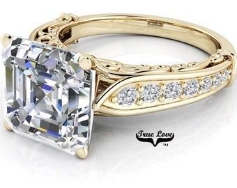 Asscher cut Moissanite Trek Quality #1 D-E Colorless or G-H Near Colorless Engagement Ring 14kt Yellow  Gold  #6788