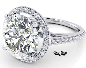 Round Brilliant Cut Moissanite Engagement Ring Trek Quality #1 D-E or G-H Color VVS Clarity set in 14kt White Gold  #7123