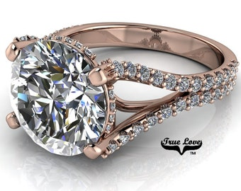 Round Brilliant Cut Moissanite Engagement Ring Trek Quality #1 VVS Clarity  D-E Colorless or G-H near Colorless set in 14 kt Rose Gold #6980