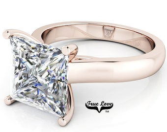Moissanite Engagement Ring 14kt Rose Gold, Trek Quality #1, Wedding Ring,  Decorative Moissanites, Square Cut, Princess Cut #6922