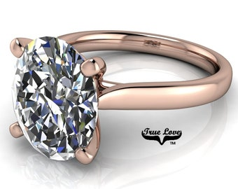 Oval Moissanite Engagement Ring Trek Quality #1 VVS Clarity D-E Colorless or G-H Near colorless, set in 14kt Rose Gold #6793